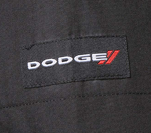 Mechanic Style Button Up Shirt - Black & Red W/ White & Red Dodge Emblem - 2