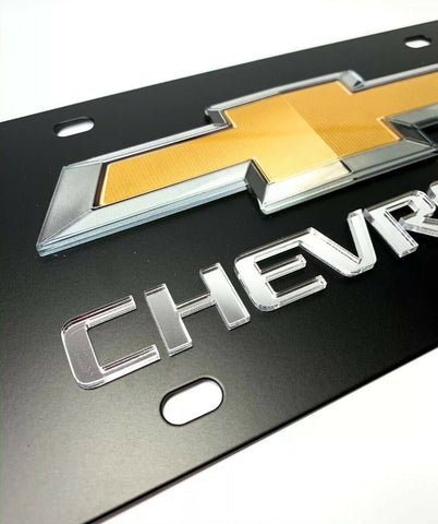 Chevy License Plate - Black with 3D Gold & Silver Bowtie Emblem & Mirrored Chevrolet Script - 1