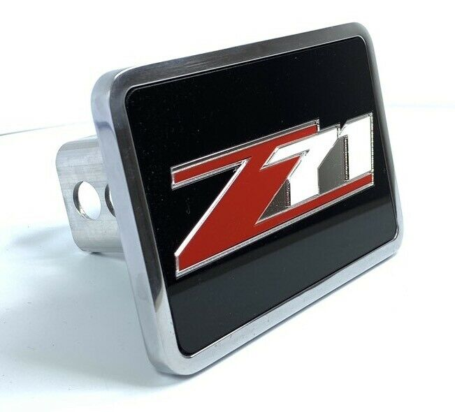 Chevy Z71 Tow Hitch Cover - Black w/ Red and Silver Logo