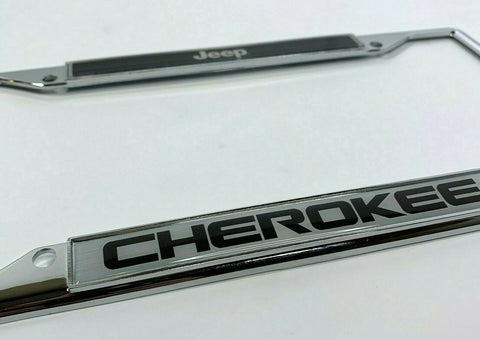 Image of Jeep Cherokee License Plate Frame - Chrome w/ Black - Logo