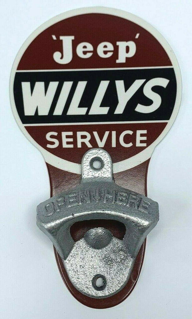 Vintage Style Service Wall Mount Metal Bottle Opener Sign w/ Willys Jeep Logo