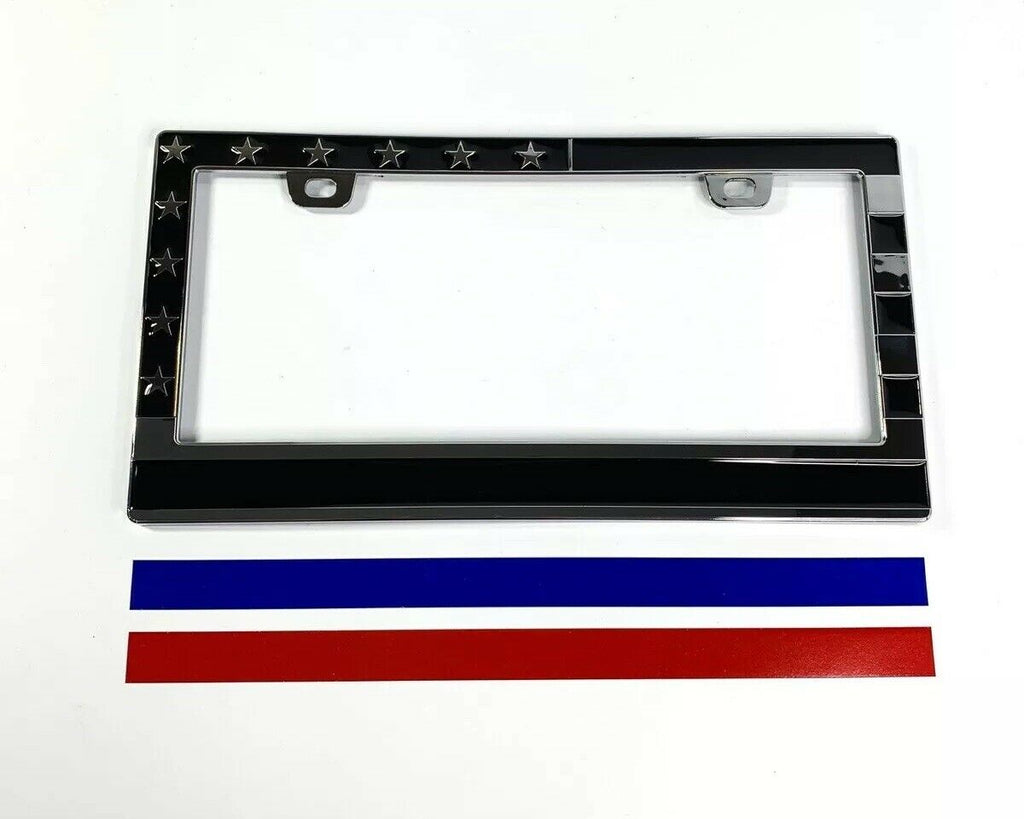 American Flag License Plate Frame - Police Firefighter First Responder - Front