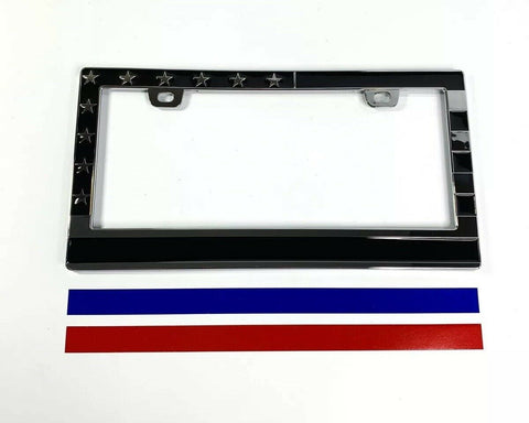 Image of American Flag License Plate Frame - Police Firefighter First Responder - Front
