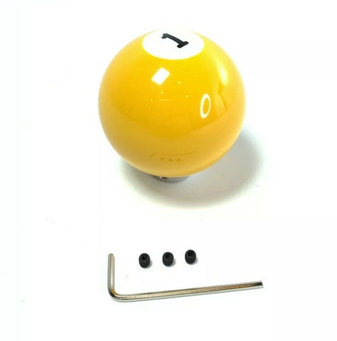 Image of Pool Ball Gear Shift Knob (Yellow Solids, Number 1)-Live Fast Supply Company