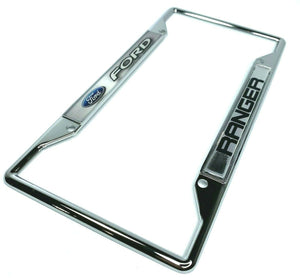 Ford Ranger License Plate Frame - Chrome w/ Blue Oval and Black/White Emblem