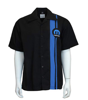 Mechanic Style Button Up Work Shirt - Black w/ Blue Mopar M Emblem / Logo