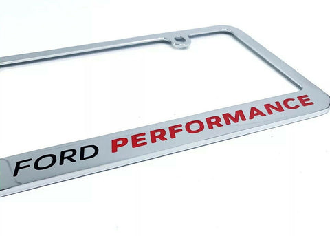 Ford Performance Premium Chrome License Plate Frame w/ Blue Oval Emblem - 1