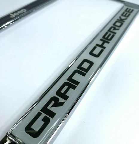 Jeep Grand Cherokee License Plate Frame - Chrome w/ Black Big Emblem - Logo