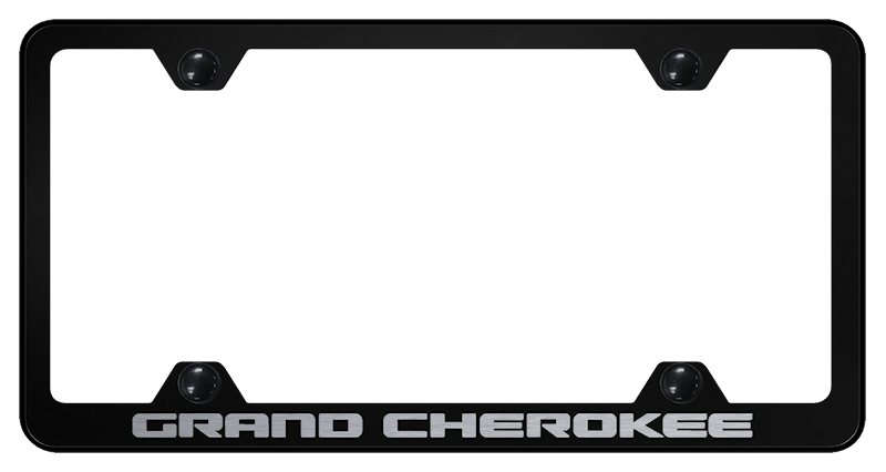 Jeep Grand Cherokee License Plate Frame - Black w/ Silver