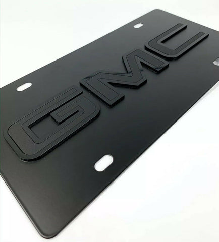 Image of GMC Emblem Premium Black License Plate - 3D Logo (Sierra, Yukon, Canyon) - 2