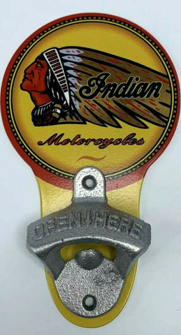 Image of Vintage Style Indian Motorcycles Head Wall Mount Metal Bottle Opener Sign