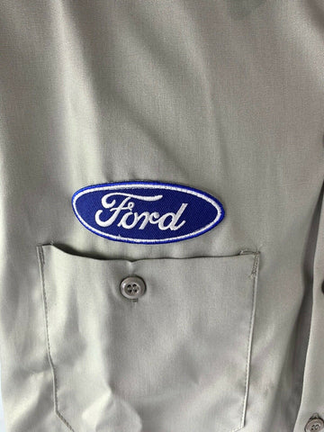 Mechanic Style Button Up Shirt - Gray w/ Blue Ford Oval & Black F-150 Emblem - 4