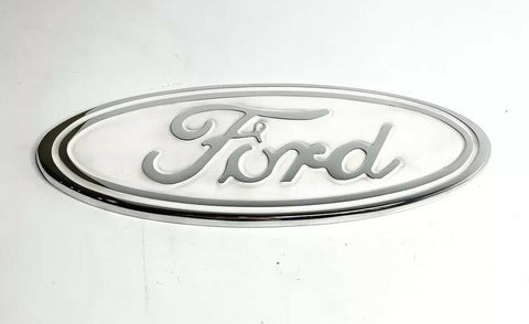 "Image of Ford Grill Tailgate Oval Emblem - 9"" White & Chrome Premium Billet Aluminum - 1"