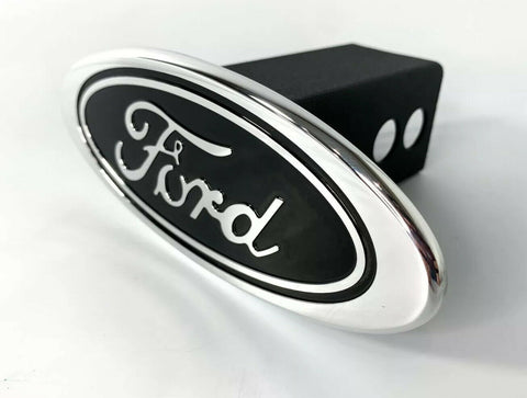 "Image of Ford Oval Emblem Hitch Cover - Black with Chrome Aluminum Plug For 2"" Inch Receivers - 3"