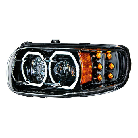 Image of Pair of Blackout LED Headlights with LED Halos & Turn Signals for Peterbilt 388/389 - 6