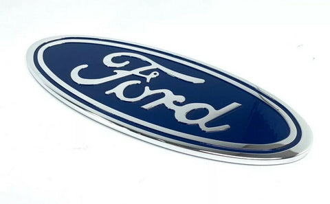 "Image of Ford Grill Tailgate Oval Emblem - 9"" Blue & Chrome Premium Billet Aluminum - 2"