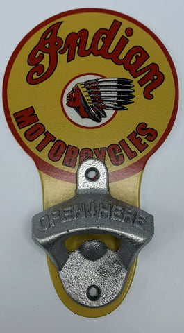 Vintage Style Indian Motorcycles Wall Mount Metal Bottle Opener Sign