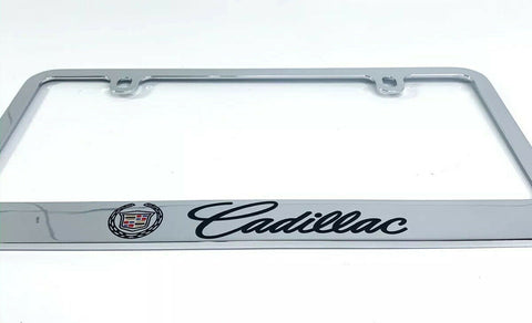 Image of Cadillac Premium Chrome License Plate Frame w/ Black Script Emblem - 2