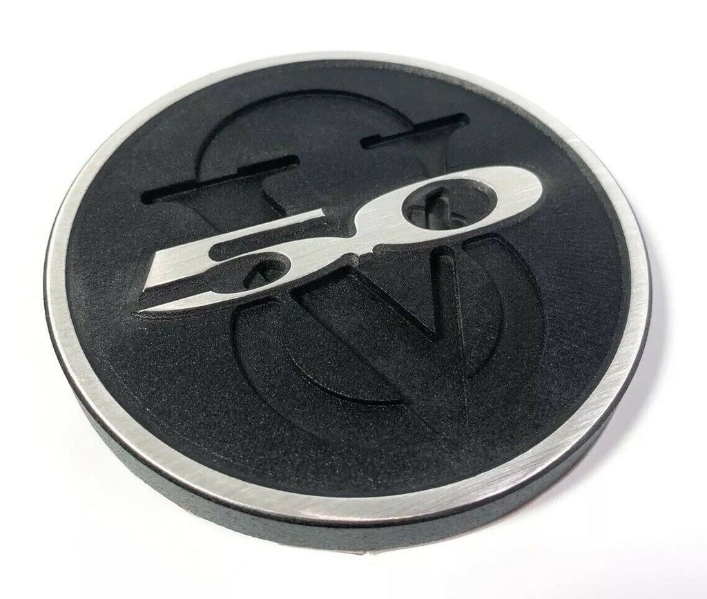 2011-2013 Ford Mustang Trunk Deck Lid 5.0 V8 Emblem - Brushed with Black Powdercoat - 2