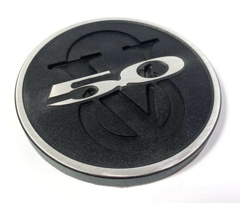 Image of 2011-2013 Ford Mustang Trunk Deck Lid 5.0 V8 Emblem - Brushed with Black Powdercoat - 2