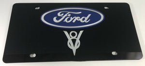 Ford License Plate- Black Acrylic with 3D Hot Rod V8 Emblem