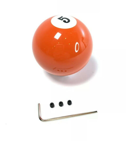 Pool Ball Gear Shift Knob (Orange Solids, Number 5)-Live Fast Supply Company