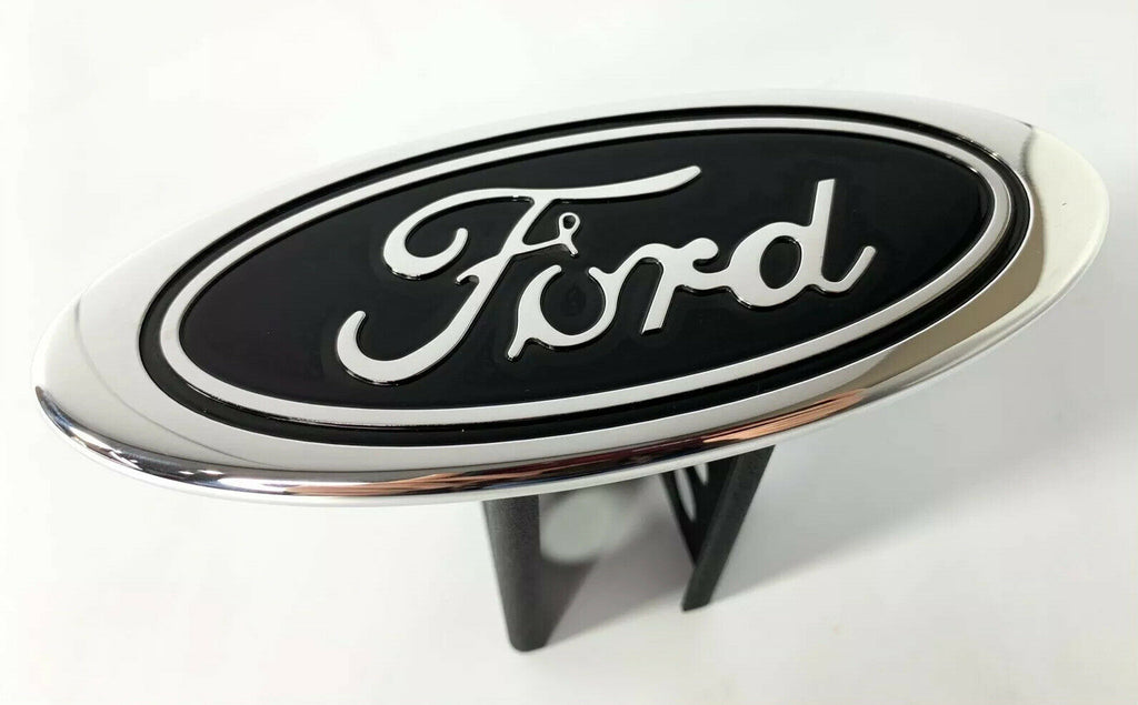 "Ford Oval Emblem Hitch Cover - Black with Chrome Aluminum Plug For 2"" Inch Receivers - 5"
