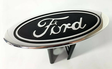 "Image of Ford Oval Emblem Hitch Cover - Black with Chrome Aluminum Plug For 2"" Inch Receivers - 5"