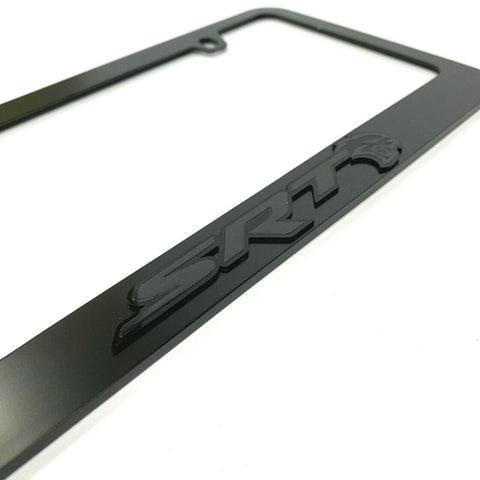 Dodge SRT Hellcat Black License Plate Frame - Black Script & Emblem-Live Fast Supply Company