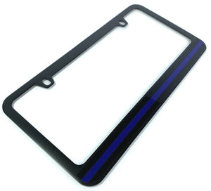 Police Thin Blue Line License Plate Frame - Black-Live Fast Supply Company