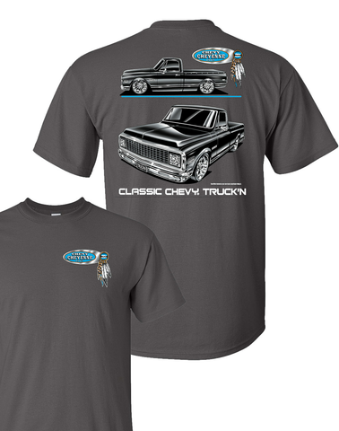 1971-1972 Chevy C10 Cheyenne Pickup T-Shirt - Gray w/ Black Trucks (Licensed)