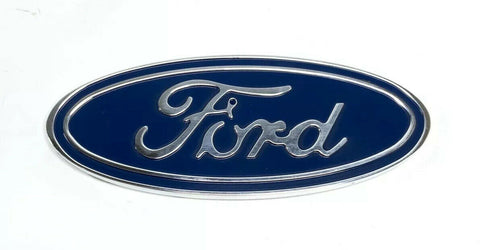 "Image of Ford Oval Emblem - Rear 5"" Blue & Chrome Premium Billet Aluminum - 1"
