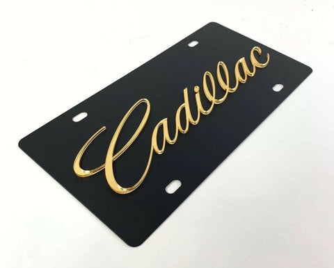 Cadillac License Plate - Black with Gold Script - Main
