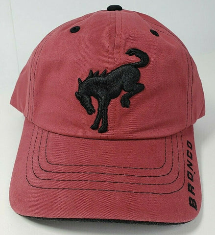 Image of New 2021 Ford Bronco Hat / Cap - Brick Red w/ Embroidered Black Emblem & Script - 1