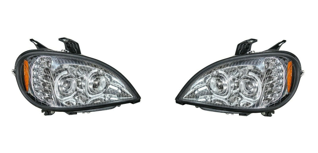 Pair of Chrome Headlights with LED Turn Signal Lights for Freightliner Columbia - 2