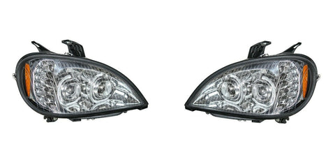 Image of Pair of Chrome Headlights with LED Turn Signal Lights for Freightliner Columbia - 2