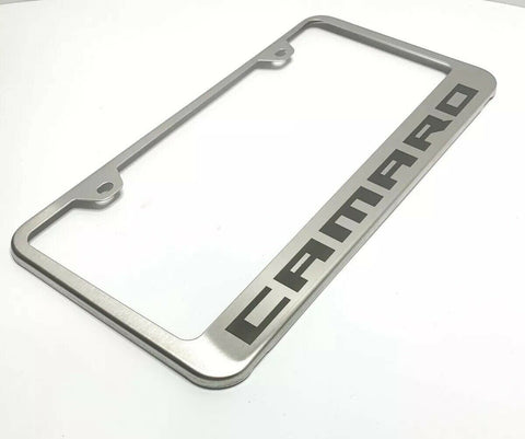 Chevy Camaro License Plate Frame - Brushed w/ Black Logo - Main