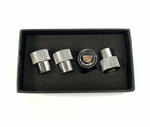 Cadillac Valve Stem Caps - Knurled Chrome w/ Black - Main