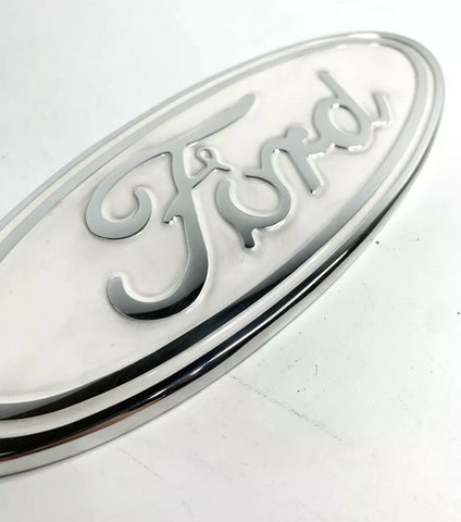 "Image of Ford Grill Tailgate Oval Emblem - 9"" White & Chrome Premium Billet Aluminum - 2"