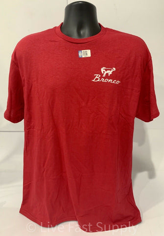 Ford Bronco T-Shirt - Red w/ 1st Generation 1966-1977 Off Road Emblem / Logo - 2