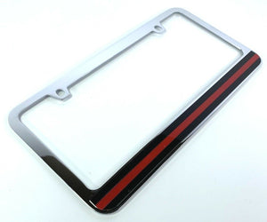 Firefighter Thin Red Line License Plate Frame - Chrome
