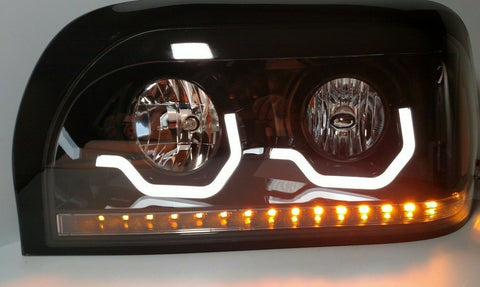 Image of Pair Blackout Headlights with LED Turn Signal & Light Bar for Freightliner Century - 2
