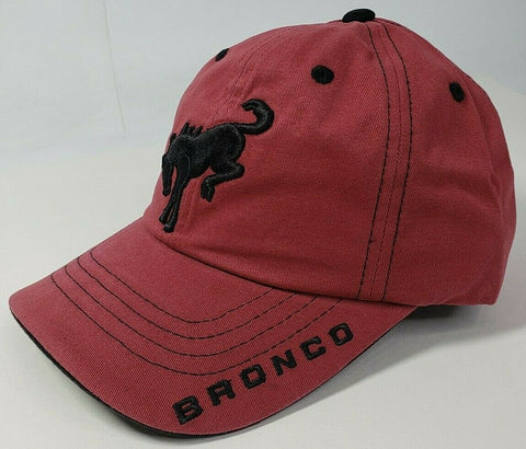 Image of New 2021 Ford Bronco Hat / Cap - Brick Red w/ Embroidered Black Emblem & Script - 2