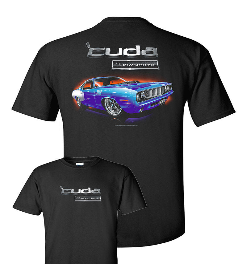 Black T-Shirt w/ Blue 1971 Plymouth Cuda & Logo / Emblem (Licensed-Live Fast Supply Company