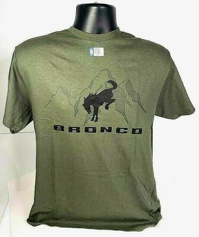 New 2021 Ford Bronco T-Shirt - Green w/ Black Emblem / Logo & Script