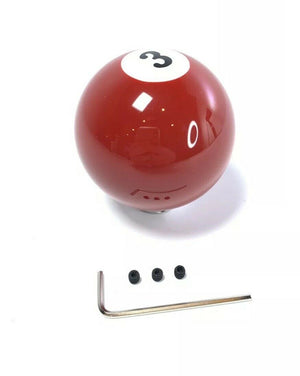 Pool Ball Gear Shift Knob (Red Solids, Number 3)-Live Fast Supply Company