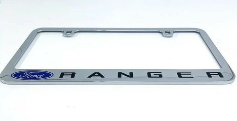 Ford Ranger Premium Chrome License Plate Frame w/ Blue Oval Emblem - 1