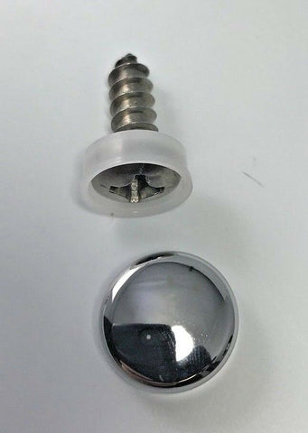 Image of (2) License Plate Screws & Chrome Caps / Covers-Live Fast Supply Company