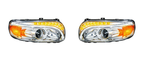 Pair of Projection Headlights with LED Light Bar & Turn Signals for Peterbilt 388/389 - 1