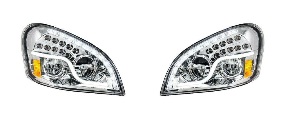 Pair of LED Headlights with Dual Function LED DRL & Turn for Freightliner Cascadia - 1
